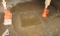 Footing hole in slab