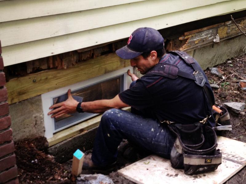 basement window casing installation